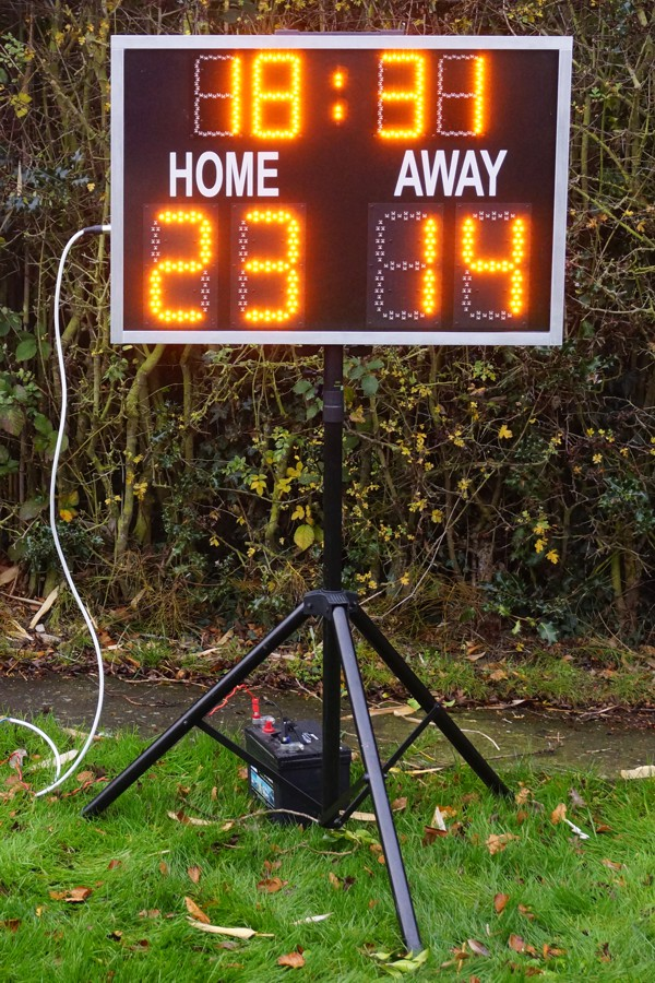 Small rugby scoreboard on a stand